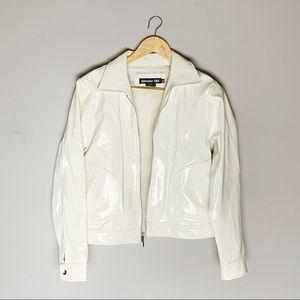 2000's vintage pvc white shiny rain jacket